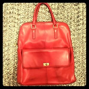 Jcrew Red Leather Edie Tote (large)